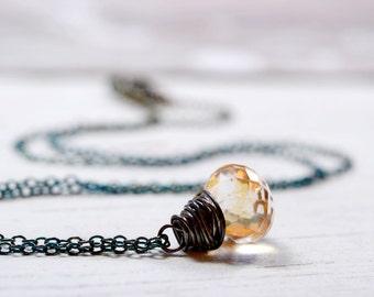 Tiny Apricot Gemstone Necklace, Peach Stone Jewelry, Oxidized Sterling Silver Champagne Quartz Briolette Drop Silver Wire Wrap Gem Dangle