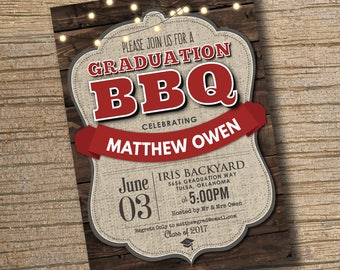 Graduation BBQ Party Invitation, Printable Graduation Invitation, BBQ Graduation Party Invitation, Class of 2017, Graduation Party BBQ