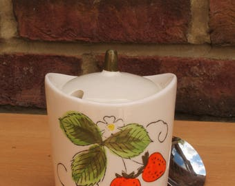 Mid Century  Retro Strawberry Jam Jar in Porcelain
