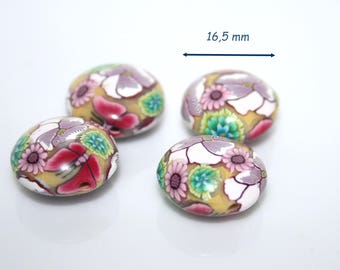 Lenses in polymer clay beads / floral pink and green / the pair
