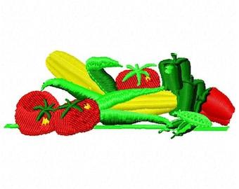 Veggie Medley Machine Embroidery Design - Instant Download