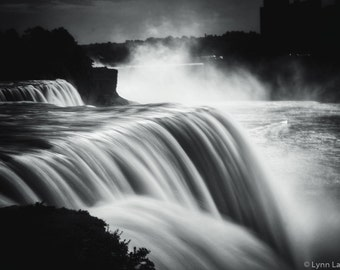 "Waterfall Photography - Niagara falls black white 8x10 prints 11x14  large art 16x20 bathroom decor waterfall prints 24x36 ""Miss U Forever"""