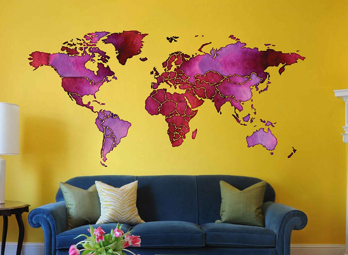 World map Wall Decals watercolor World map Wall art stickers