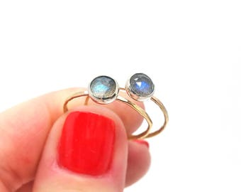 Faceted Labradorite Stacking Ring // hammered gold filled or sterling silver // from the studio