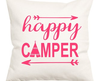 Happy Camper Pillow Cover, Happy Camper, Pillow, Home Decor, Happy Camper Pillow, Pillow Case, Beach House, Camp Pillow, Camping, Decor