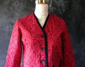 1950's red and black Poodle paisley daisy novelty print quilted jacket