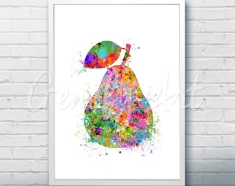 Pear Watercolor Art Print  - Fruit Watercolor Art Painting - Pear Poster - Kitchen Decor - Home Decor - House Warming Gift