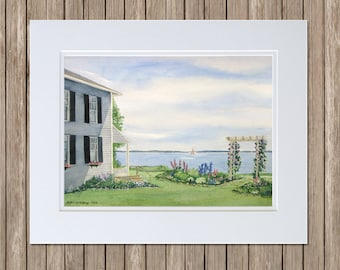 Original Watercolor Paintings - Maine Seaside Garden with Arbor - Journey's End Cottage - Gray House with Garden