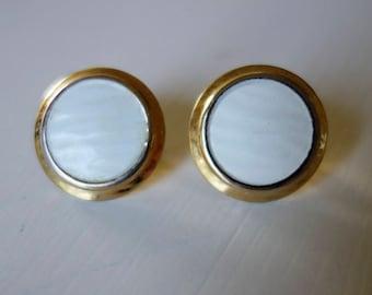 Vintage Napier earrings / Vintage white enamel earrings / Napier Vintage Earrings
