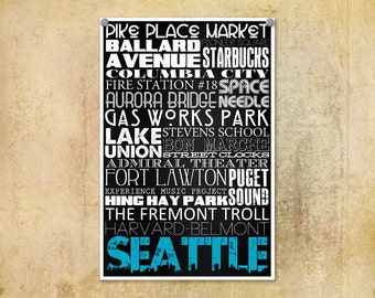 Typographic Print Seattle Subway Art--Typography Art 8x12