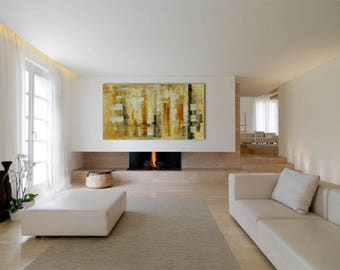 "Large Abstract Painting Rectangular 67""x35"" Original Neutral Cream Brown White Acrylic on Canvas Modern Minimalist Wall Art Living room Huge"