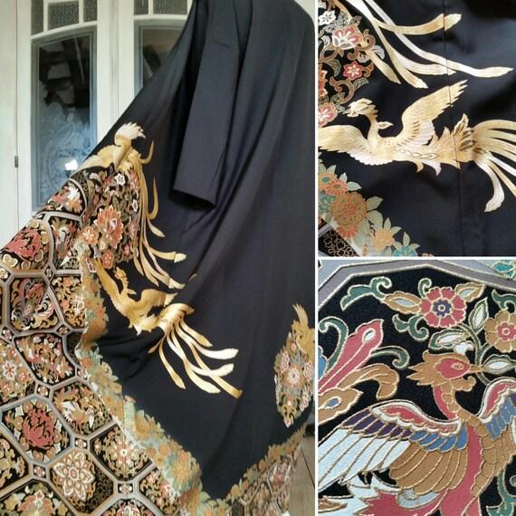 in Phoenix Japanese one gorgeous kimono kind gorgeous a Fabulous coat and with pattern Kimono silk kimono of in black Handmade coat Z8XYXxqEw