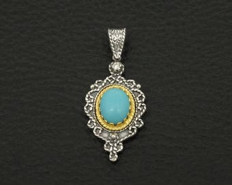 Turquoise Pendant Byzantine Style 925 Sterling Silver & 22K Gold Plated Greek Handmade Art Luxury