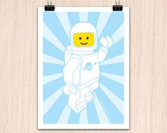 "Lego 9x12"" Hello SpaceBoy White (Color Print)"