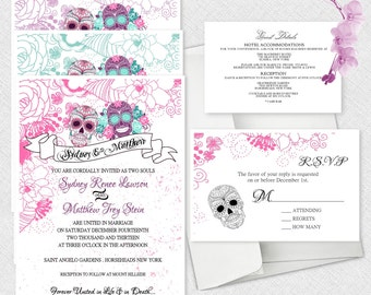 Sugar Skull Invite Etsy - Day of the dead party invitation template