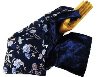 Vintage Reversible Lady's Scarf-Panne Velvet and Chiffon-Blue and Beige
