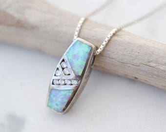 Sterling Silver and Synthetic Opal CZ Necklace, Sterling Silver Opal Necklace, Sterling Silver Opal Pendant, Sterling Opal Inlay Necklace