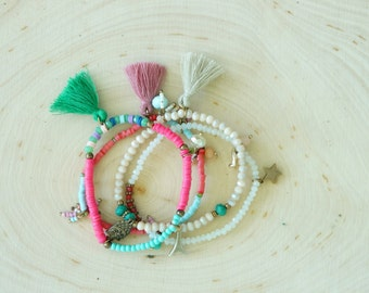 Tassel bracelet SET - charm bracelet - beaded bracelet - beach jewelry - bohemian jewelry -  Bracelet set