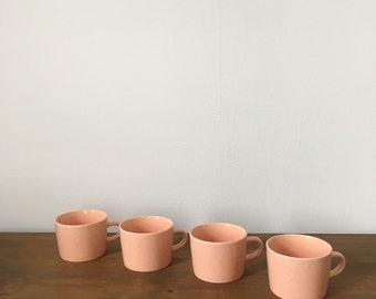 set of 4 japanese blush pink mugs