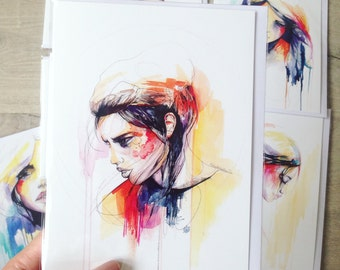 Set of 6 5X7 art greeting cards - new watercolour illustrations by Holly Sharpe