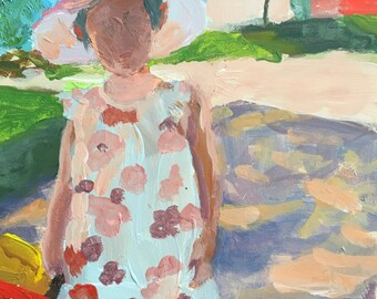Art and collectibles, Original painting young girl, acrylic on Gessobord, 5x7, impressionist, wall candy