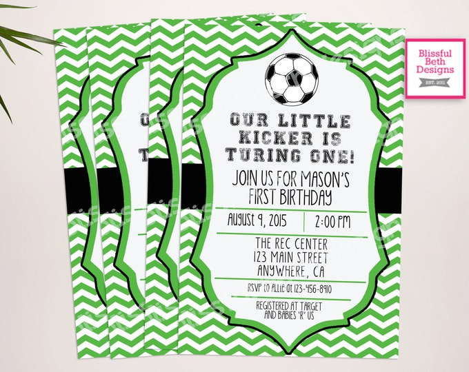 SOCCER BIRTHDAY INVITATION  Soccer First Birthday Invitation, Printable Soccer First Birthday Invitation, Soccer Birthday Invite, Soccer