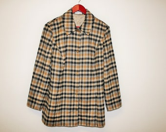 Womens Wool Trench Coat Beige Gray Checkered Long jacket Oversized Plaid Shirt Designed PETER HAHN   Overcoat XXL  Large Size