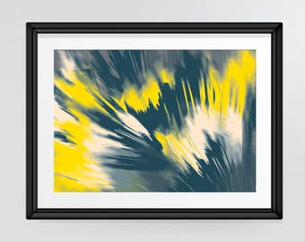 Moody Abstract yellow and dark grey sweeping brushstrokes Art Print, Living Room Decor for INSTANT DOWNLOAD