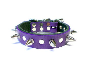 "3/4"" Soft Electric Purple, Thick Leather Spiked Dog Collar with Spot Rivet Studs & Small Tree Spikes"