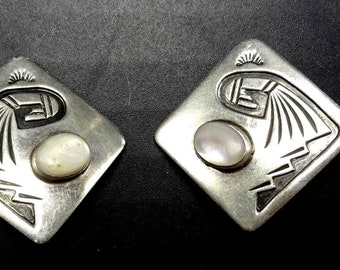 Vintage Hopi Sterling Silver OVERLAY & MOTHER of PEARL Earrings Clip-On