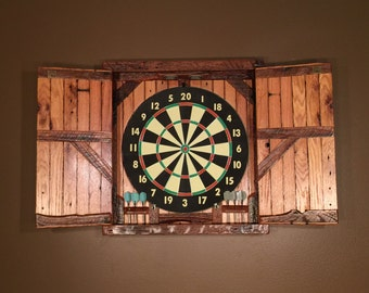 Natural Barnwood Dartboard Cabinet   MADE TO ORDER