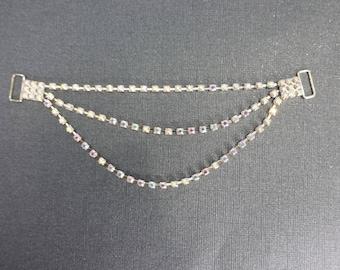 3 row AB rhinestone connector for bikini or craft