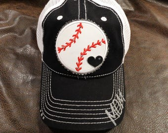 Baseball or softball mom trucker hat with name