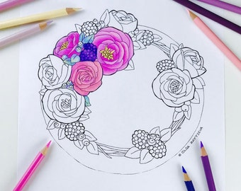 Adult coloring page Fall wreath | Roses Flower Coloring Pages for Adults | Digital Coloring Hand Drawn Flowers Line Art by Olga Zaytseva