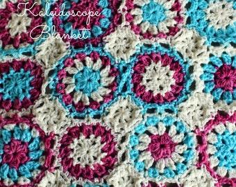 Download Now - CROCHET PATTERN Kaleidoscope Blanket - Make to Any Size - Pattern PDF