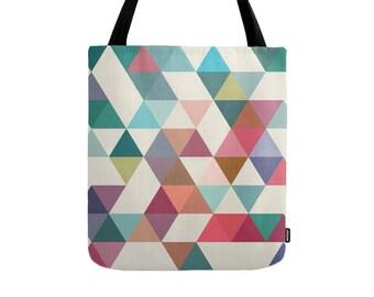 Geometric tote bag geometric bag triangles tote bag geometric canvas tote teal and pink bag gift for her summer bag summer tote bag