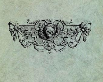 Pirate Skulls Header Banner - Antique Style Clear Stamp