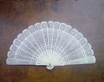 Vintage Brise Fan Bovine Bone / Ivorine / Decorative Stick Fan Circa late 19th Century Folding Fan