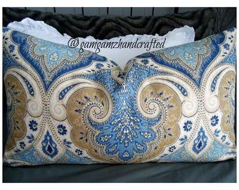 Latika.Linen Blend.Indigo Pillows.Lumber Pillow.BLUES.Slipcovers.Pillow Covers.