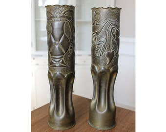 WWI 1922 Trench Art Brass Artillery Shell Casing Pair of Vases Sculpted and Embossed