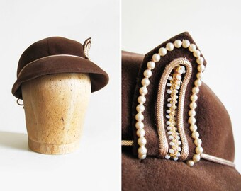 Vintage 1950s Italian Velour Afternoon Hat