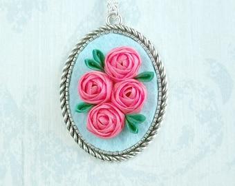 Rustic Tsumami Pink Roses Flower Pendant