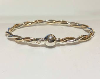 CAPE COD BRACELET 2-tone twist gold/silver w/ silver ball. Best quality, guaranteed.