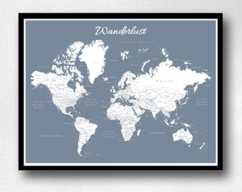 World Push Pin Map (Print Only) , Travel Map, Map Poster, Travel Board, Wedding - Anniversary Gift  #World-005