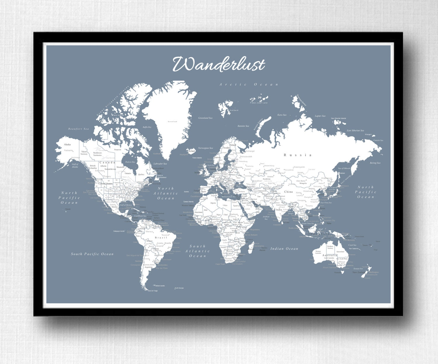 World push pin map print only travel map map poster zoom gumiabroncs Image collections