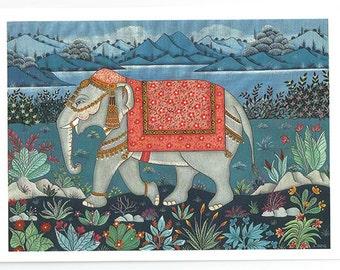 Indian elephant. Fine art card.