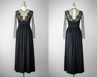 elegant black maxi dress | long sleeve maxi dress | sheer sleeve dress | 1970s vintage dress | black lace dress