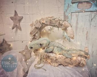 Moon and crocodile textile whimiscal fairytale art soft sculpture