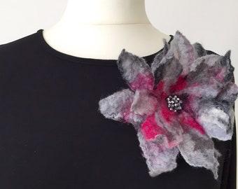Original felted grey and pink brooch