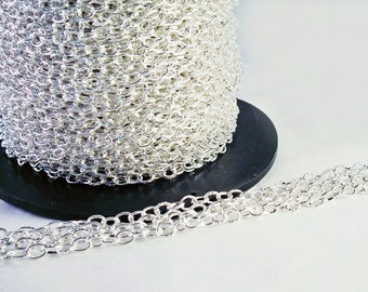 CEG10 - 1 M of silver chain links 5 mm X 3.3 mm iron / 1 M Silver Cable Link Chain, 5 mm x 3.3 mm Open Iron